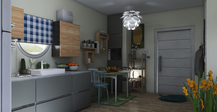 small tiny house Interior Design Render