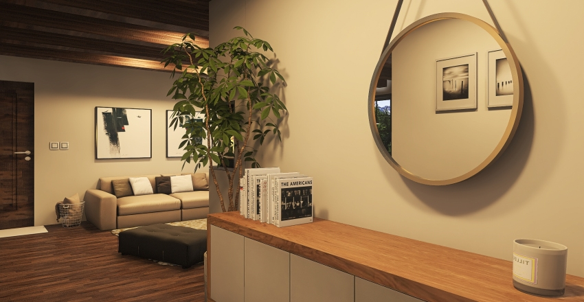 Rustic chalet Interior Design Render
