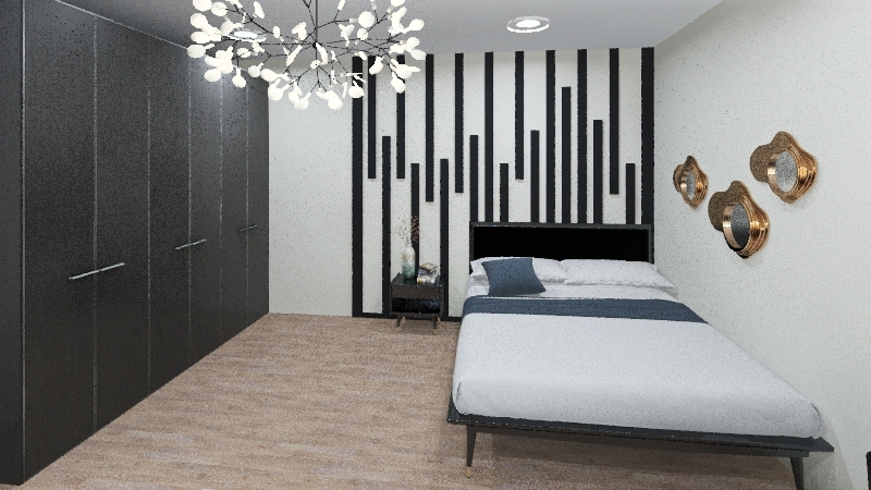 black and whaite room Interior Design Render