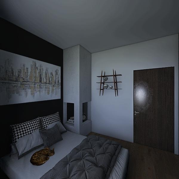 Recamara gris negro Interior Design Render