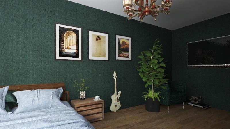 Earthy Green Interior Design Render