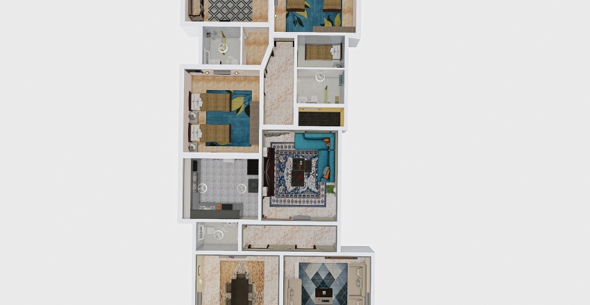شقة 3 مرتد 1851 Interior Design Render