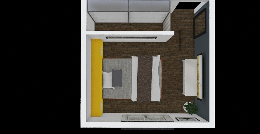 Cuarto + vestidor Interior Design Render