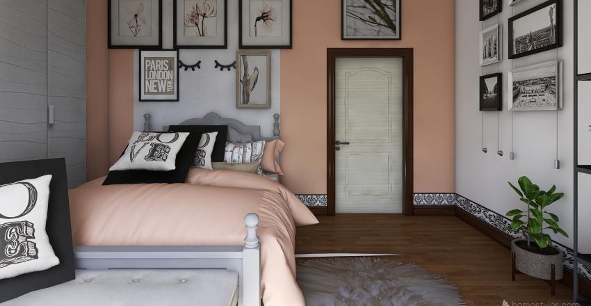 Glossy teenage bedroom Interior Design Render