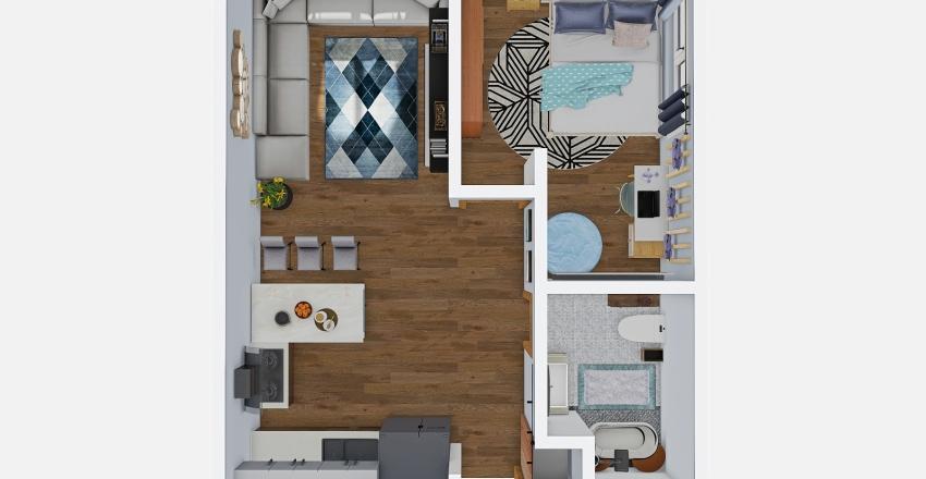 Minidepartamento Nórdico Interior Design Render